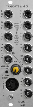 Eurorack Module M-217 Trig/gate to MIDI w. velocity from Ladik