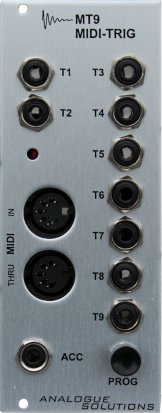 Eurorack Module MT9 MIDI to Trigger / Gate converter from Analogue Solutions