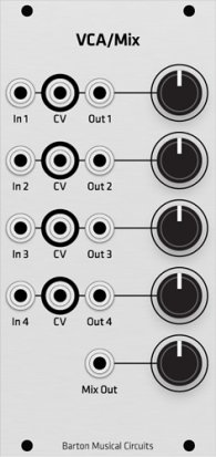 Eurorack Module Barton VCA Mixer (Grayscale panel) from Grayscale