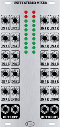 Eurorack Module Unity Stereo Mixer from L-1
