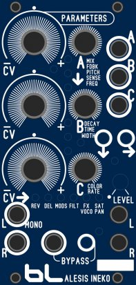 Eurorack Module CV Alesis Ineko. Additional circuits by Flavio Mireles from Blue Lantern Modules