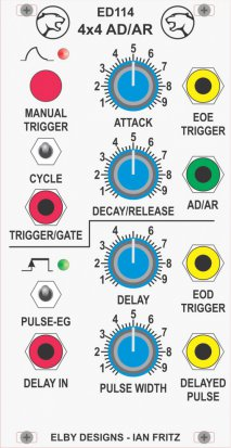 Eurorack Module IF114 - 4x4 AD/AR Delay Generator from Elby Designs