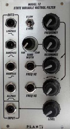 Eurorack Module Model 12 State Variable Vactrol Filter from Plan B