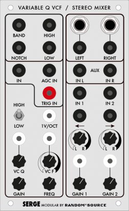 Serge Module VARIABLE Q FILTER / R*S STEREO MIXER from Random*Source