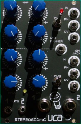 Eurorack Module Stereoscopic Duo VCA from Blue Lantern Modules