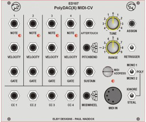 Eurorack Module ED107 PolyDAC 4-Channel MIDI-CV 30HP from Other/unknown