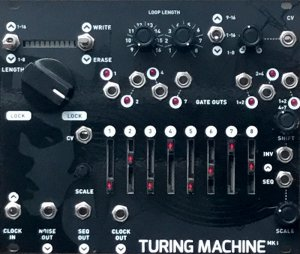 Eurorack Module Turing Machine Mk I (Magpie Black Mirror expanded panel) from Music Thing Modular