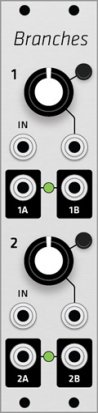 Eurorack Module Mutable Instruments Branches (Grayscale panel) from Grayscale