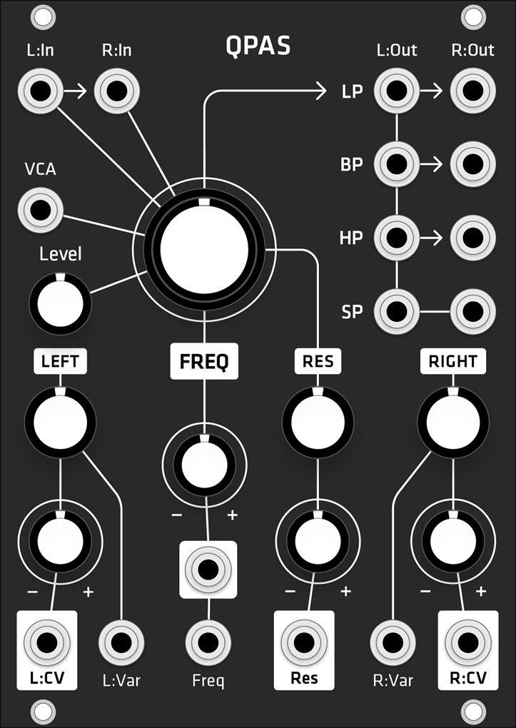 Grayscale Make Noise QPAS (Grayscale matte black panel